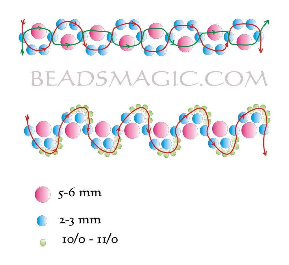 Схема для плетения ожерелья из бисера и бусин.