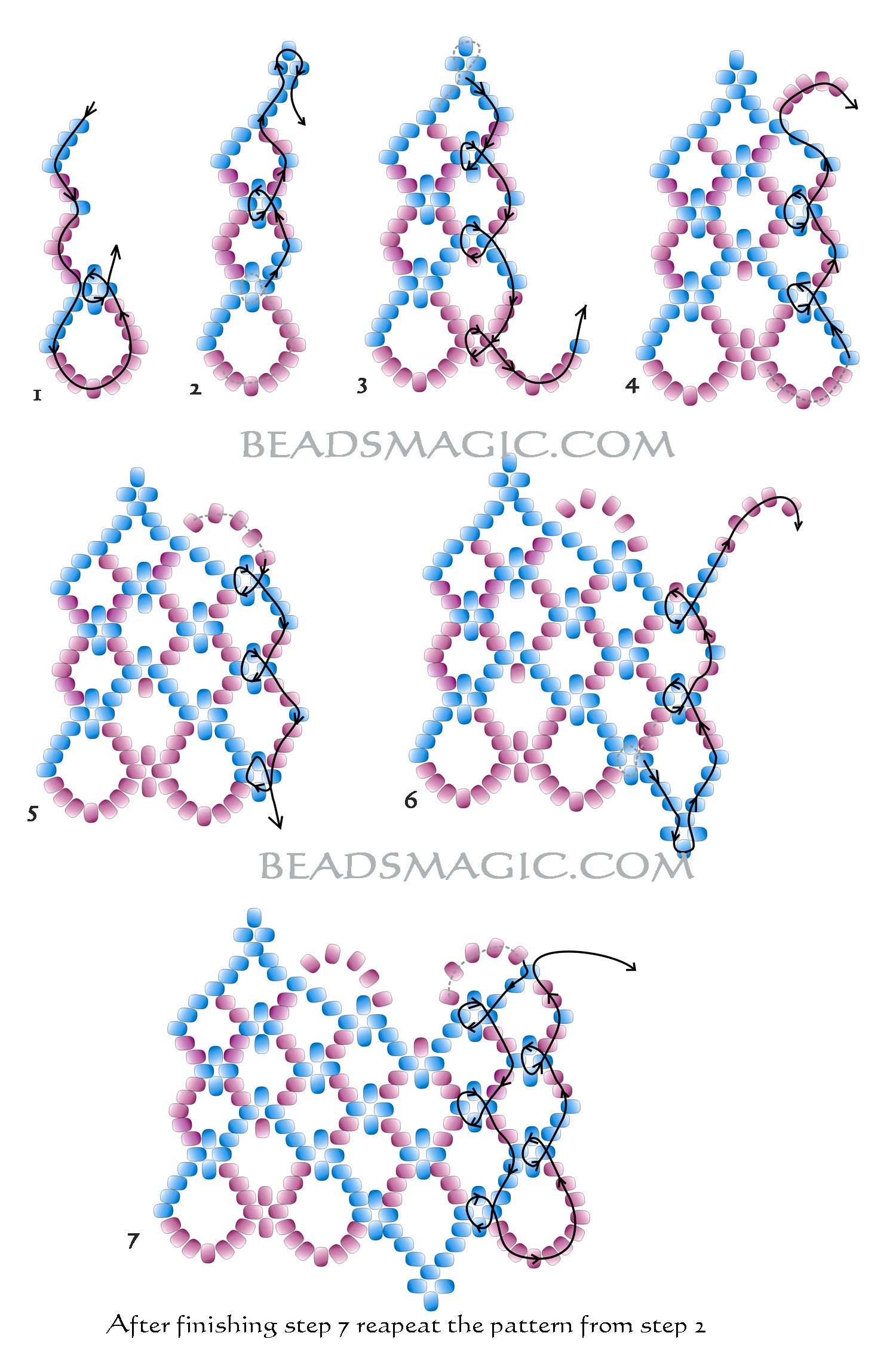 изделия из бисера со схемами, колье из бисера схемы плетения.