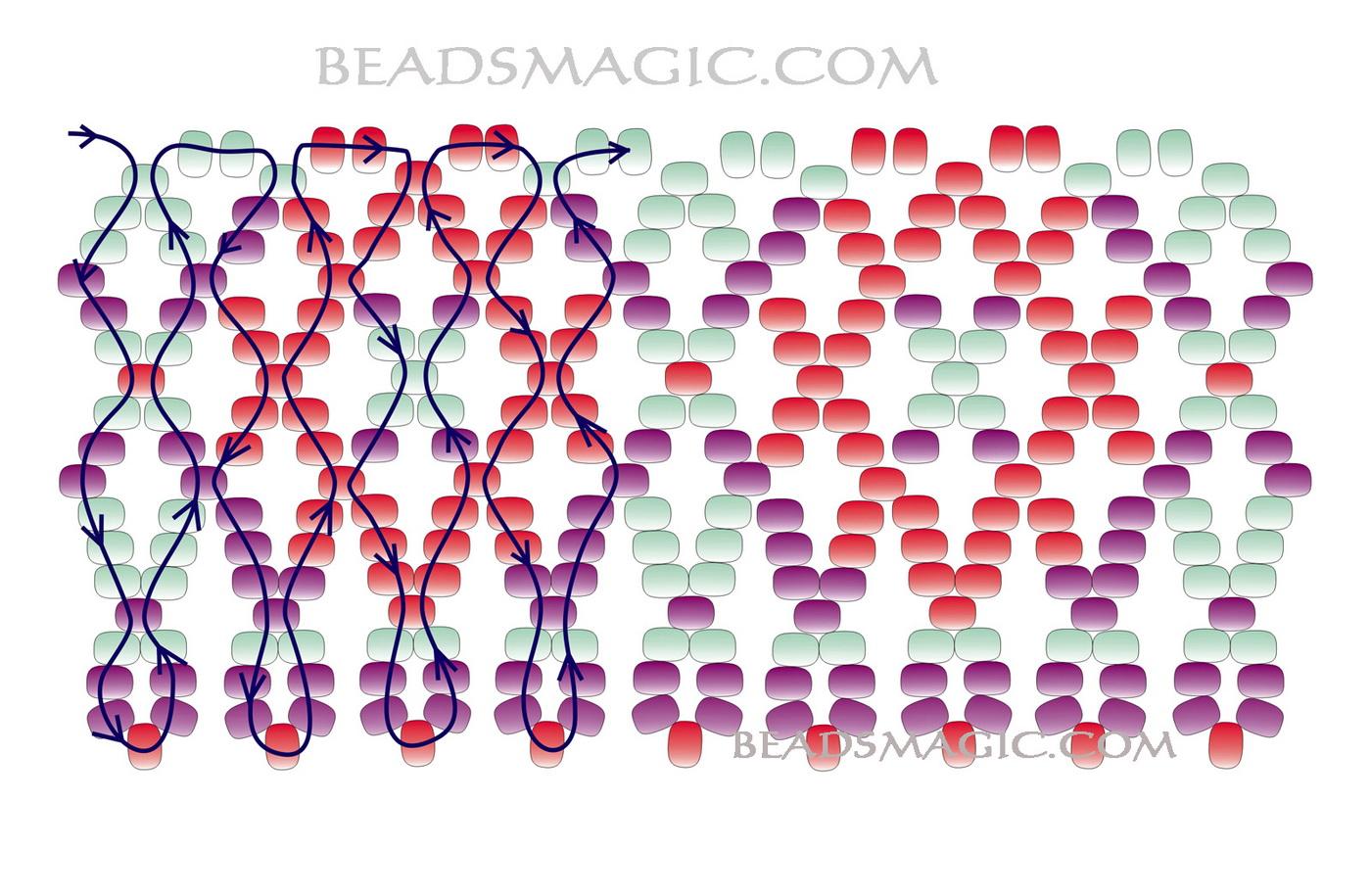 Схемы расшивки бисерной сетки