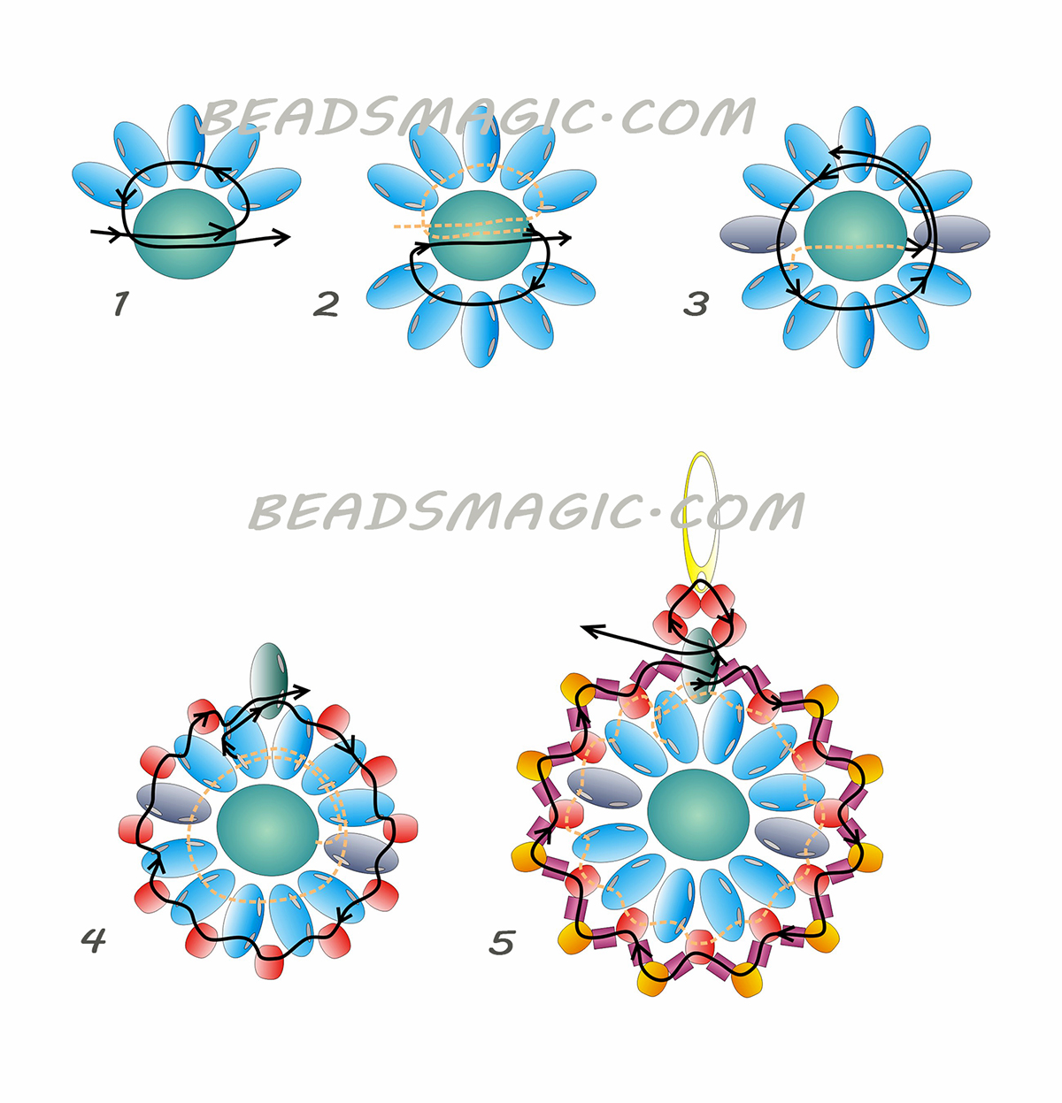 free-beading-tutorial-earrings-twin-pattern-2