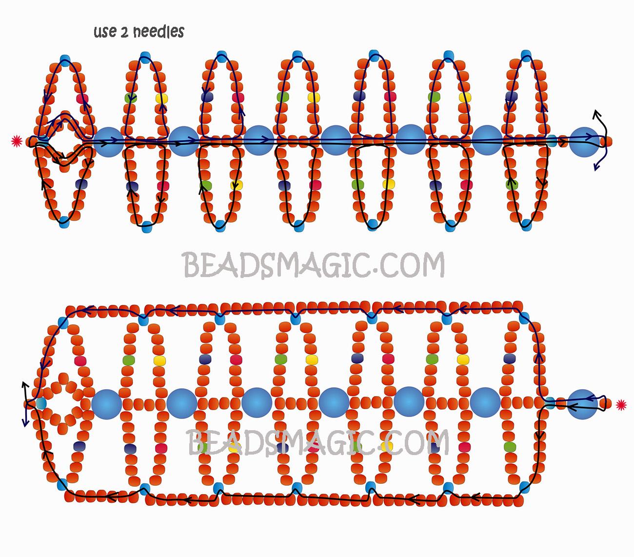 Схемы парных браслетов из бисера