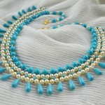 Free pattern for necklace Turquoise & Pearls