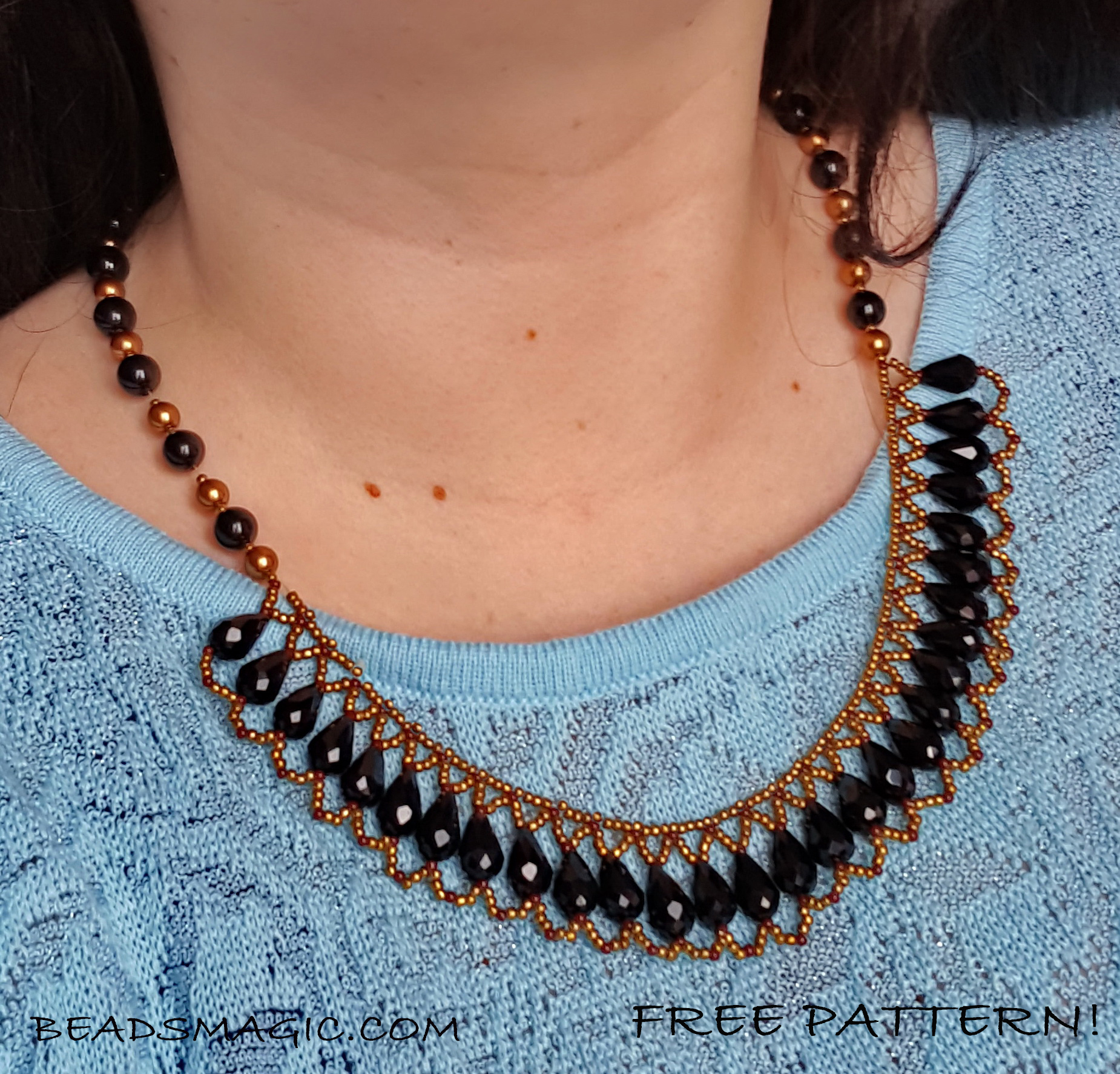 Free pattern for beaded necklace Gwen | Beads Magic