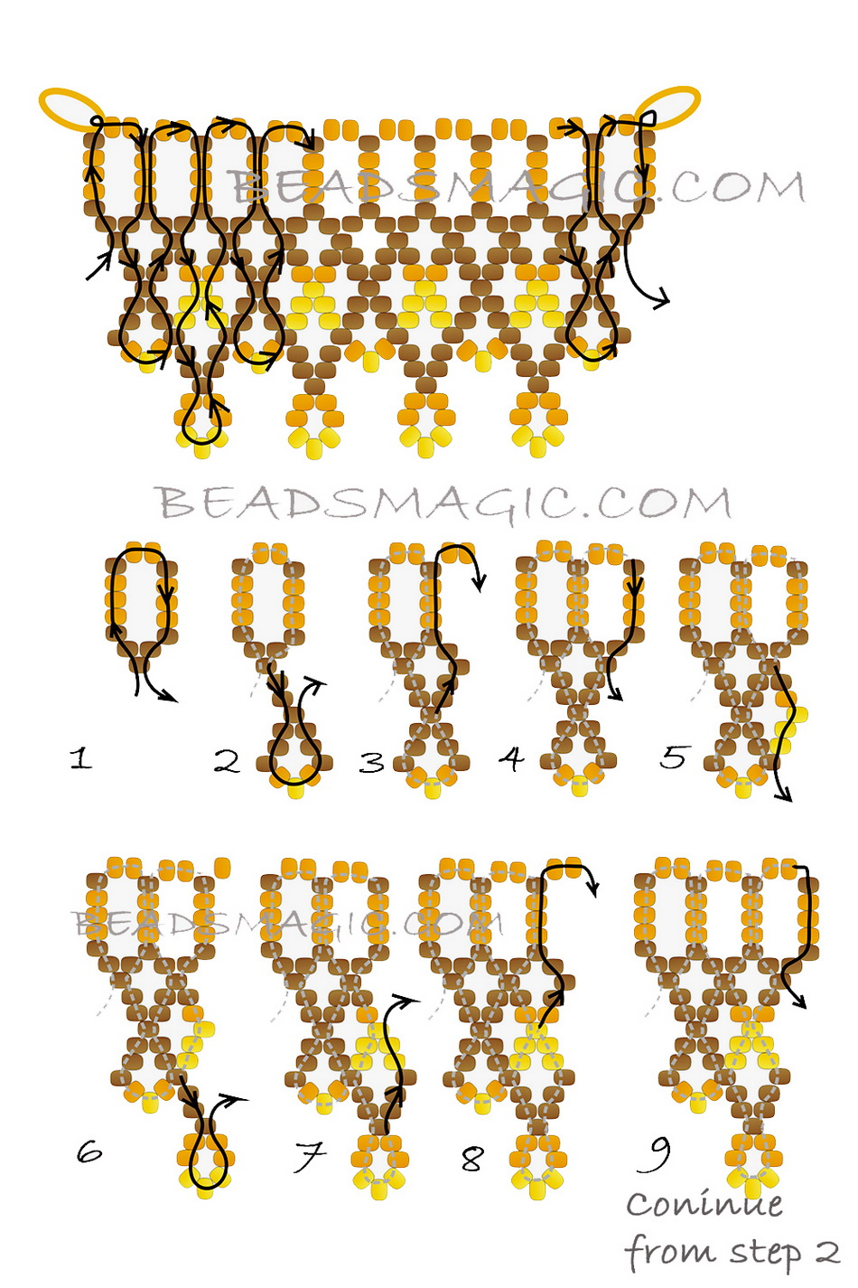 Free pattern for beaded necklace Turmeric | Beads Magic