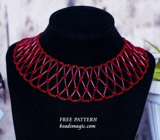 Free pattern for necklace Strawberry