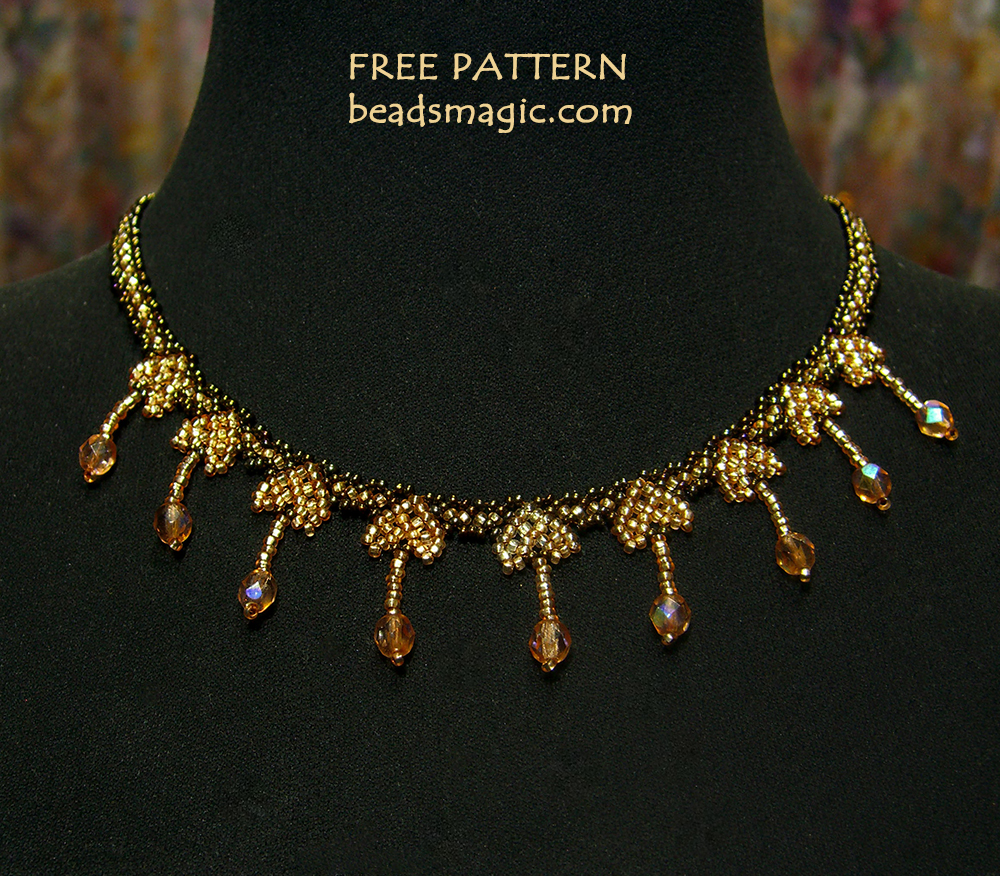 Free pattern for necklace Honey Heart