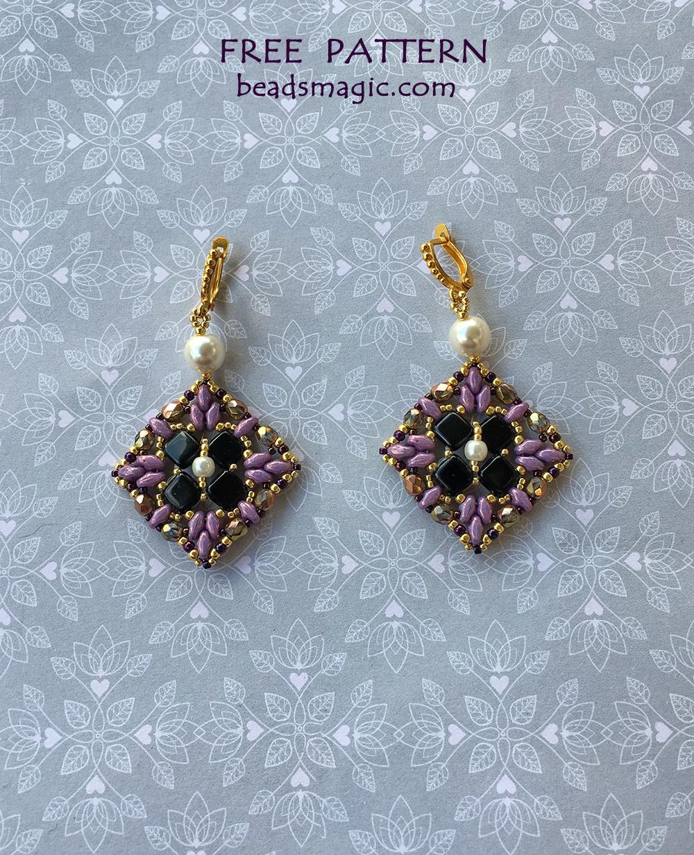 Free pattern for earrings Sara