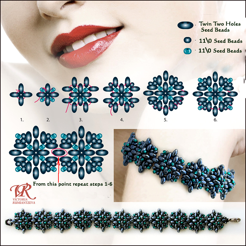 Free Pattern For Beautiful Beaded Bracelet Blue Star With Twin Two Inspiration Seed Bead Patterns