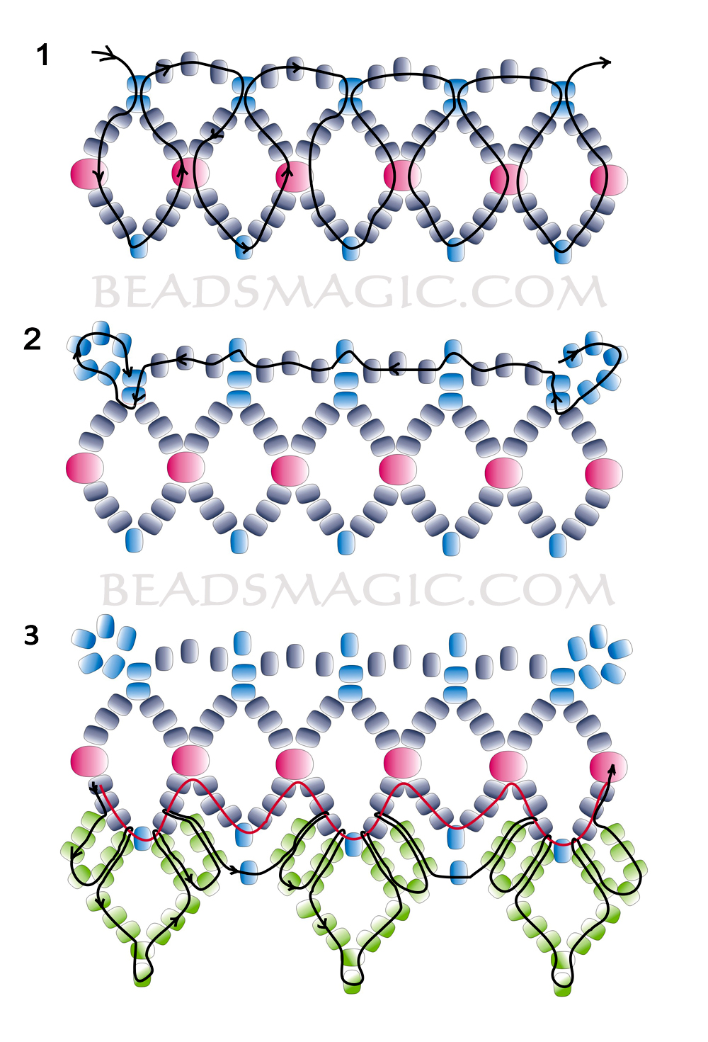 Free pattern for beautiful beaded necklace Tears In Rain | Beads Magic