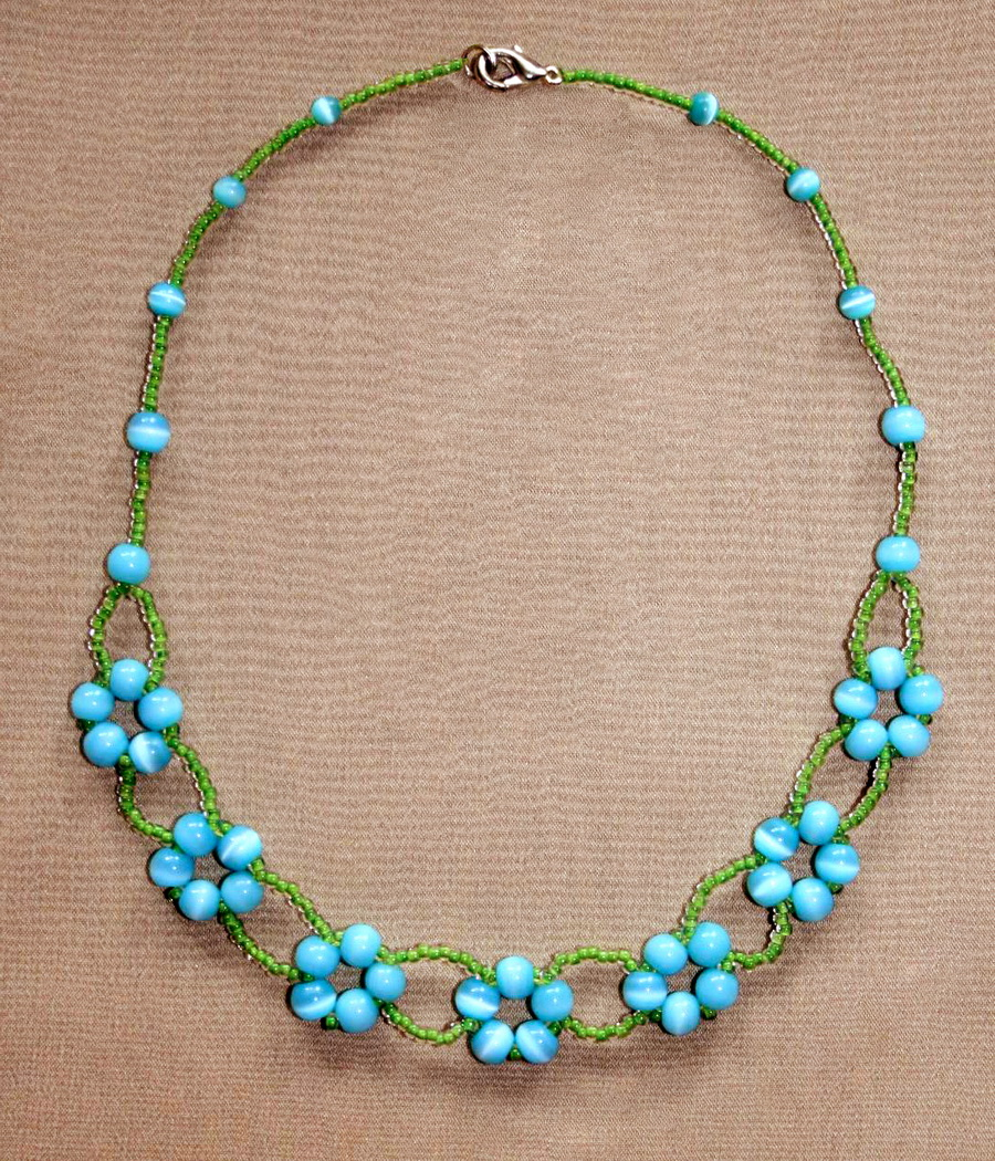 Free pattern for beaded necklace Blue Flowers | Beads Magic