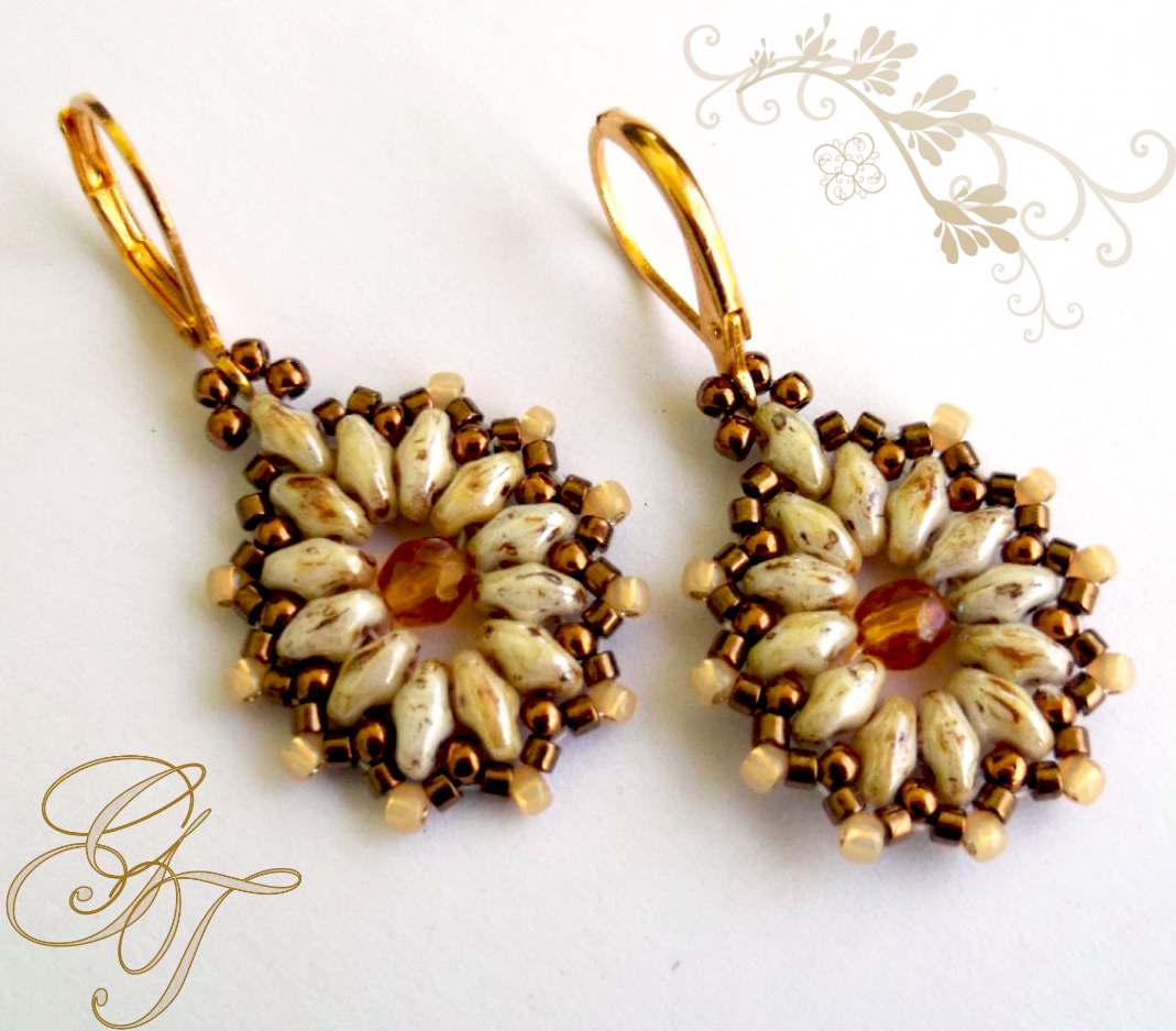 Free pattern for earrings Tea Party