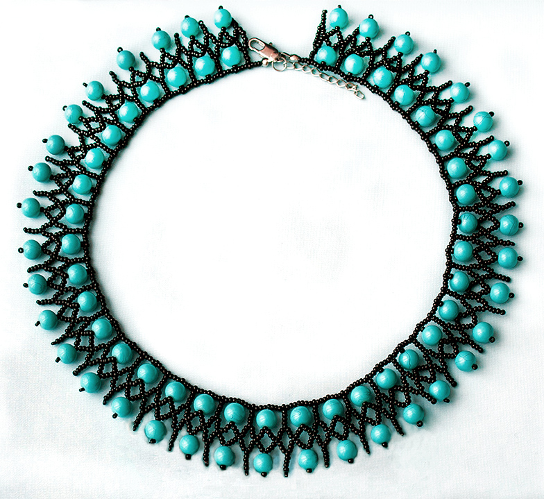 Free pattern for necklace Turquoise