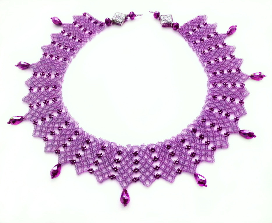 Free pattern for necklace Violet Evening