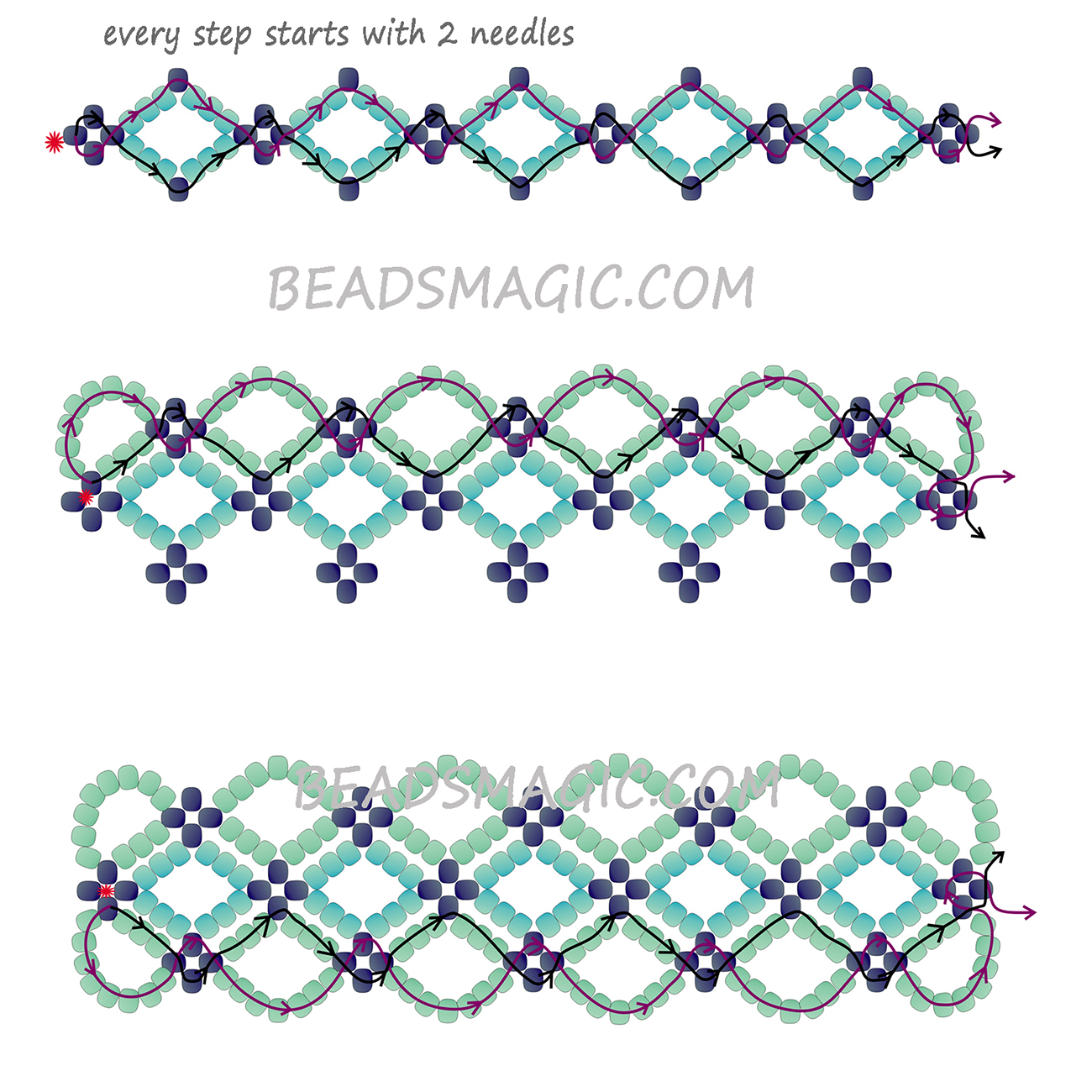 Freee Beading Bracelet Tutorial 2 1