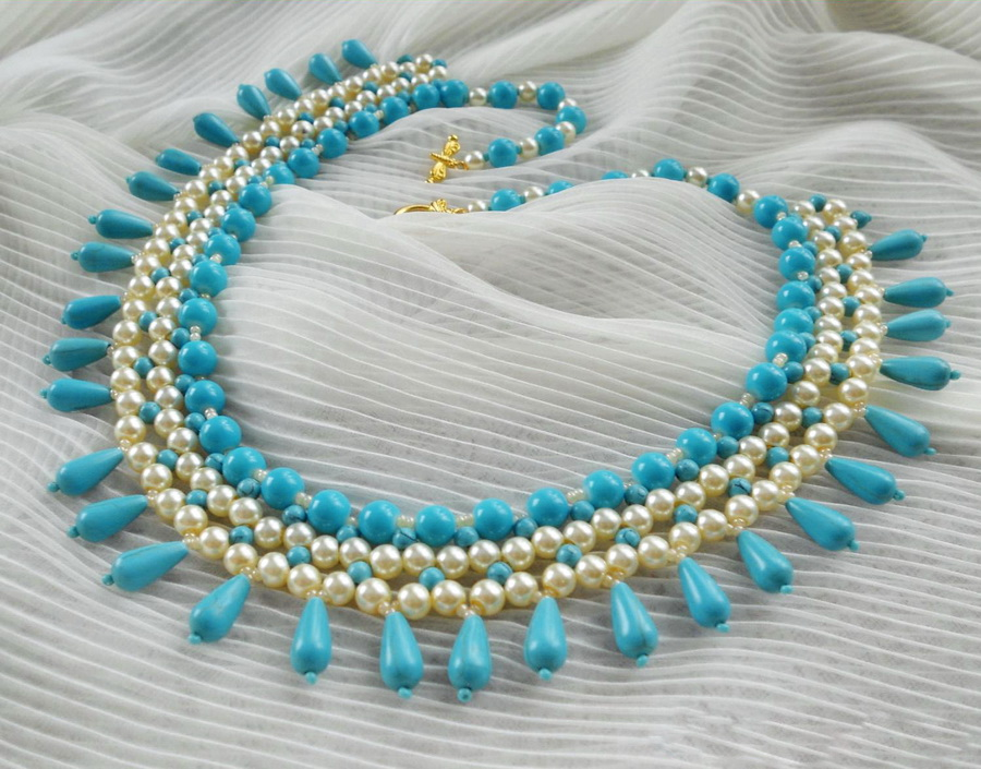 Free Pattern For Beaded Necklace Turquoise Pearls Beads Magic