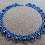 Free pattern for necklace Blue Night