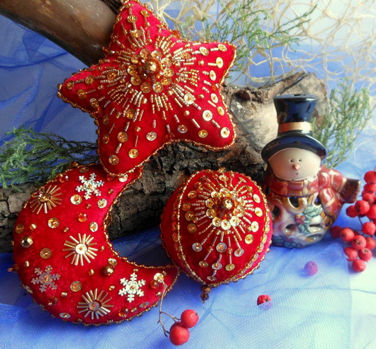 2 1 - Embroidered Christmas Ornaments