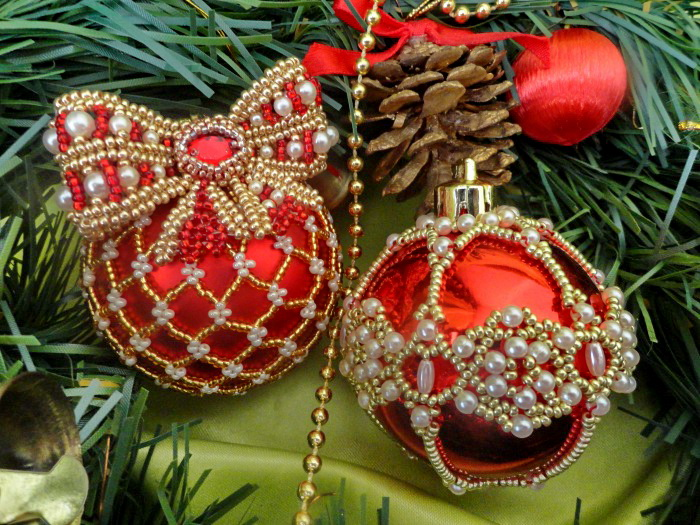 Beautiful beaded Christmas Balls