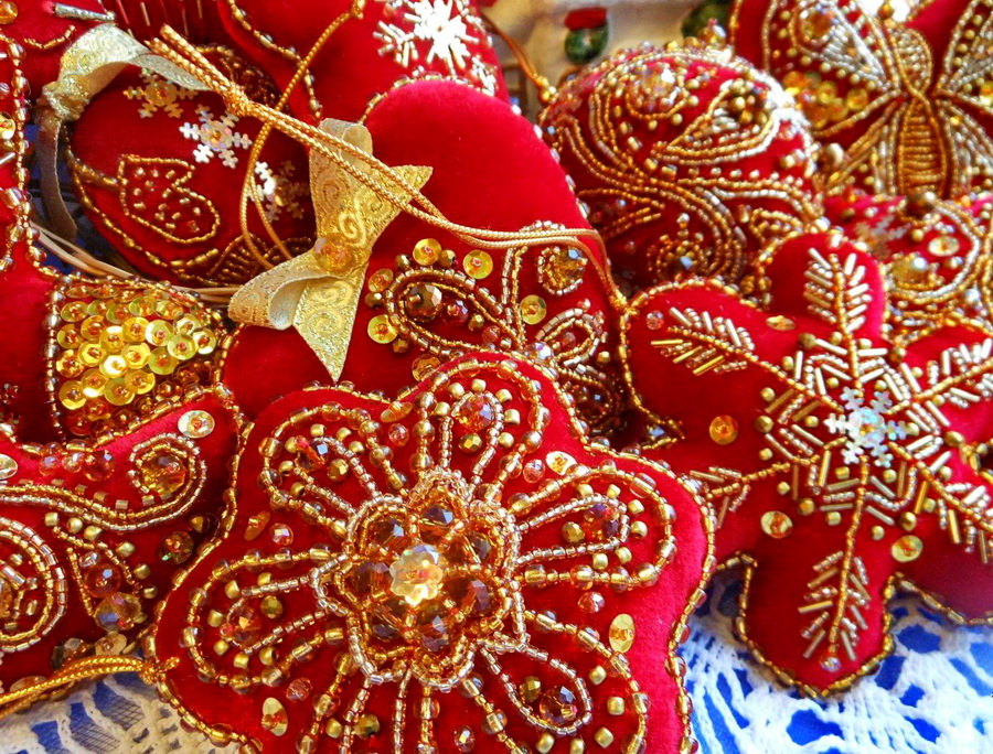 4 - Embroidered Christmas Ornaments