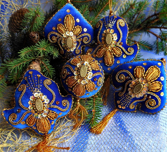 5 - Embroidered Christmas Ornaments