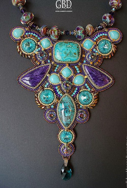 Amazing bead embroidered jewelry by Guzel Bakeeva