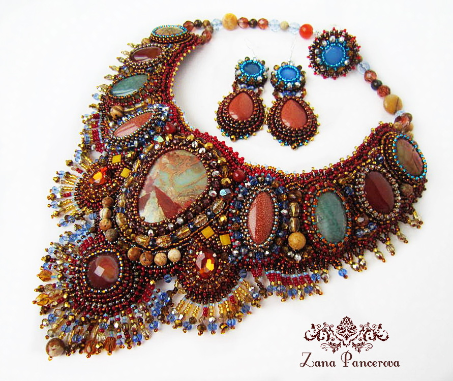 Beautiful embroidered jewelry by Zana Pancirova