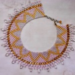 Free pattern for necklace Crystal Leaves