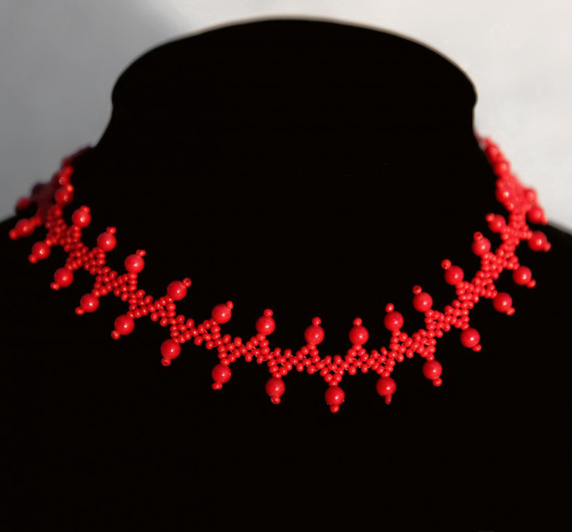 Free pattern for necklace More Red