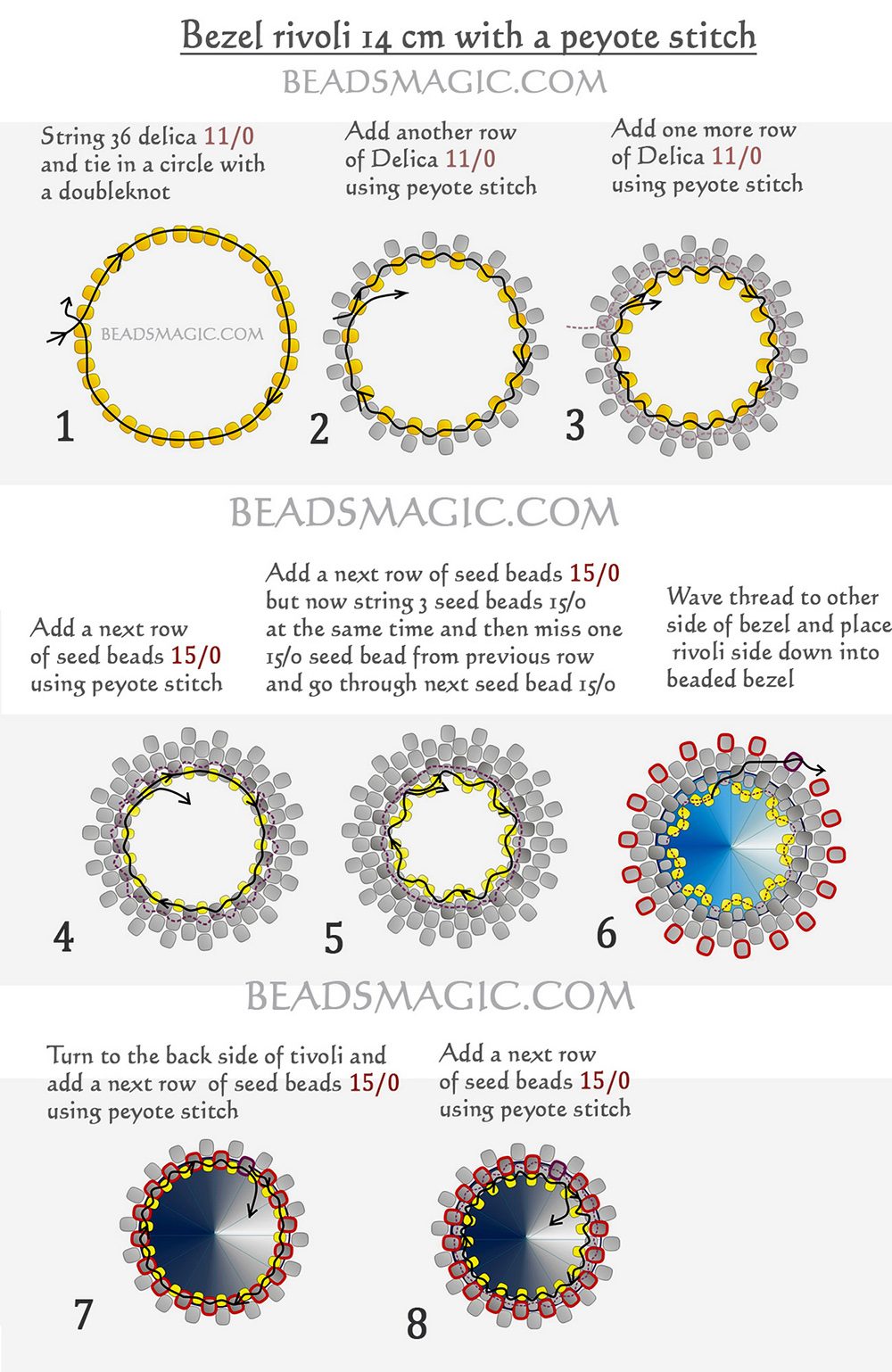 Free tutorial for snowflake with rivoli | Beads Magic