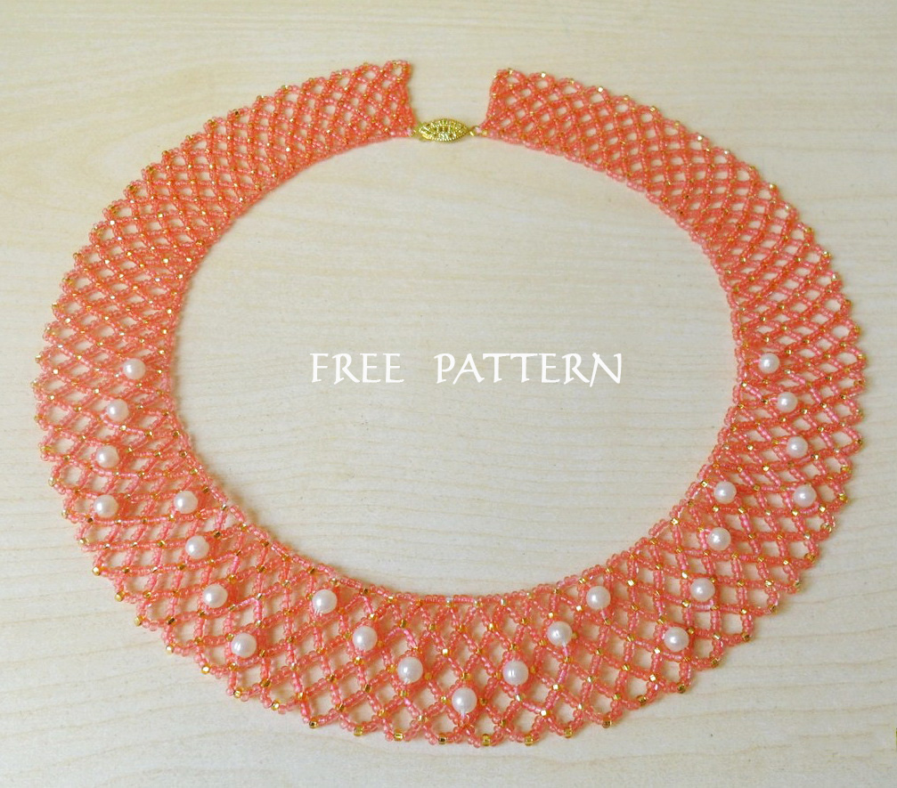 Free pattern for necklace Peach Blossom