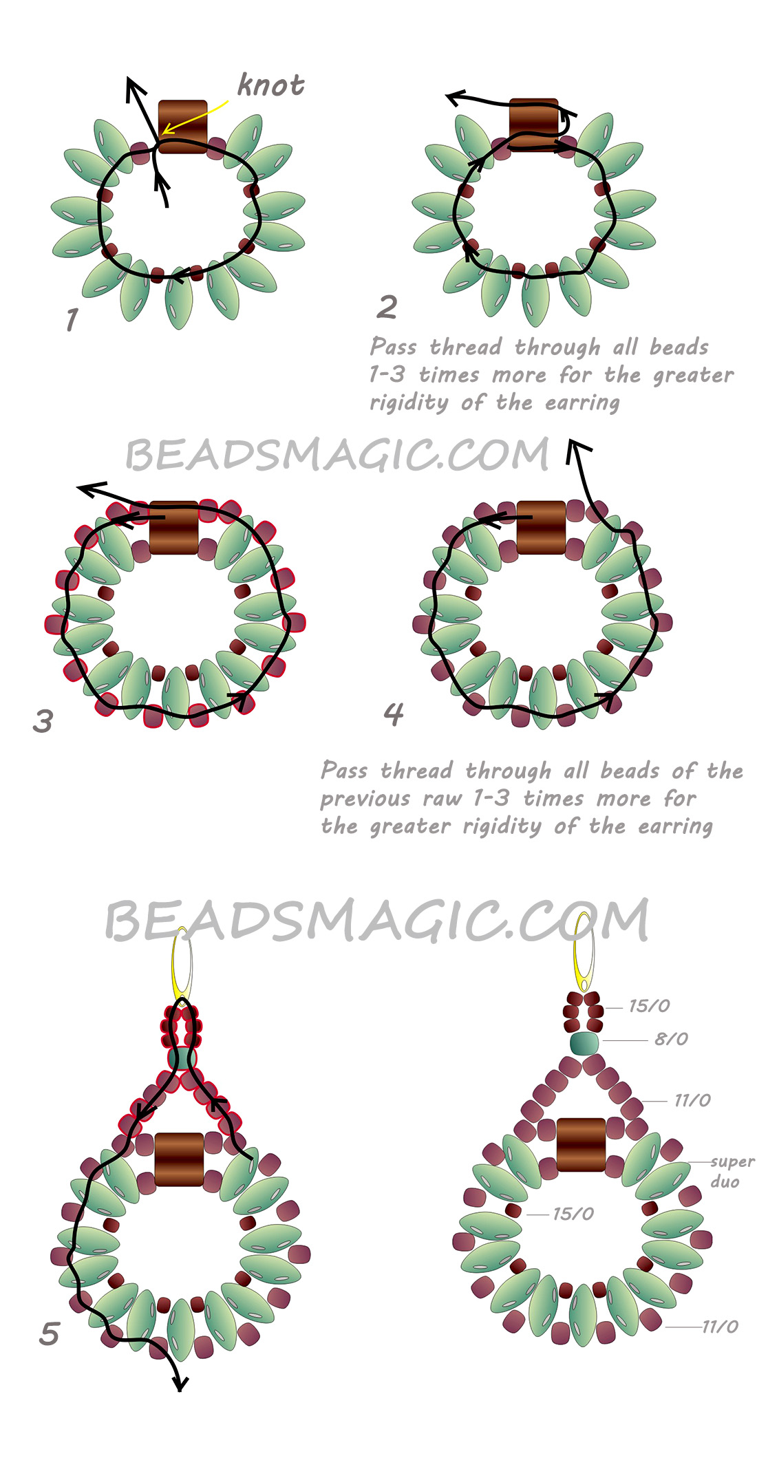 Free Pattern For Earrings Sanremo With Tila And Superduo Beads Magic