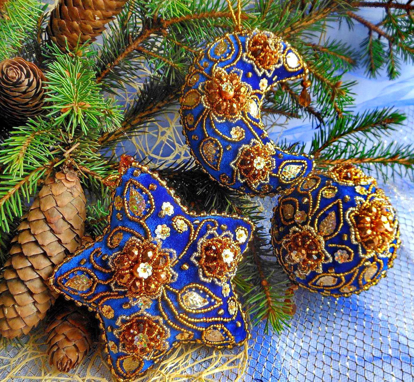 beautiful embroidered christmas ornaments - Embroidered Christmas Ornaments