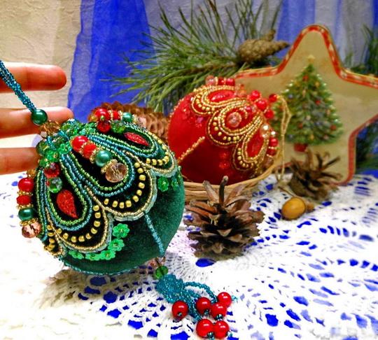 Russia Christmas Ornaments.Beautiful Embroidered Christmas Ornaments Beads Magic