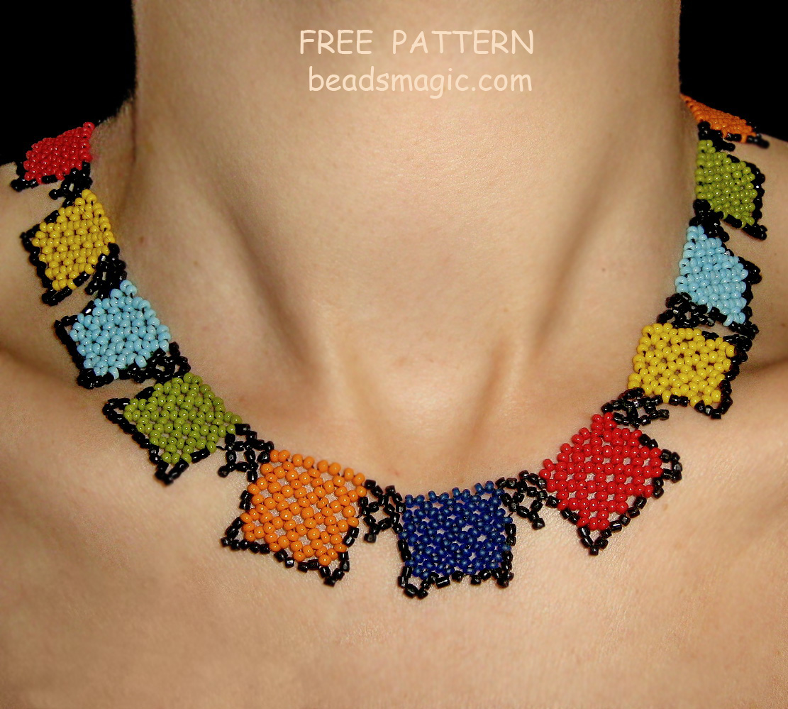 Free pattern for beaded necklace Squares   Beads Magic