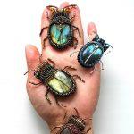 Beautiful bead embroidered bugs & beetles